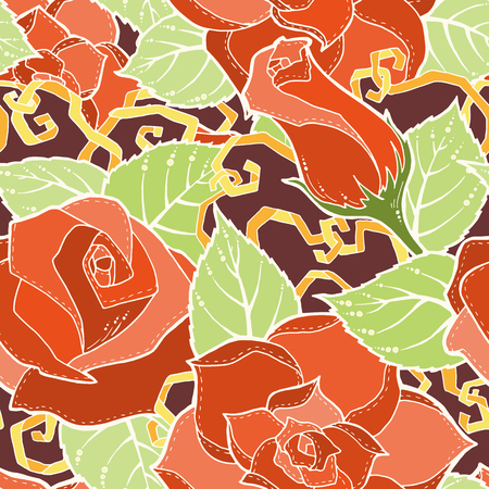 fillings: Seamless ornamental colorful pattern with stylized red roses and abstract flowers. Ethnic floral design template can be used for wallpaper, pattern fills, textile, fabric, wrapping, surface textures
