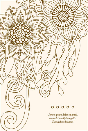 mother day: Greeting card with abstract flowers. Page for adult coloring book. Vintage hand drawn design for greeting card, wedding invitation, poster, scrapbook. Vector illustration.