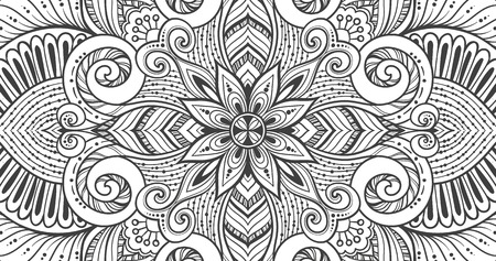 ottoman fabric: Asian ethnic floral retro doodle black and white background pattern in vector. Islam, Arabic, Indian, ottoman motifs design tribal pattern circles for printing on fabric or paper.
