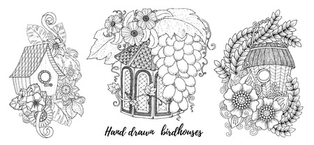 Templates for vintage card with detailed hand drawn inspired flowers, bird houses and decorative elements. Home, sweet home invitation cards. Floral invites, boho style. Coloring book page. Illustration