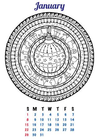 motivos navideños: 2017 Enero Calendario Planificador de Diseño. Mandala patrón de invierno de Navidad con bolas, ilustración vectorial. Doodle Islam, árabe, turco, motivos, Pakistán India. La página de colorante para los adultos y los niños libro.