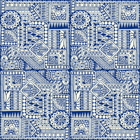 Seamless asian ethnic floral retro doodle blue monochrome background pattern in vector. Geometric ethnic pattern. Decorative ancient hand drawn ethnic seamless background. Made by trace from sketch.