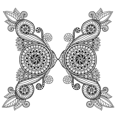 flower  hand: Ethnic floral, doodle background pattern circle in vector. Henna paisley mehndi doodles design tribal design element. Black and white pattern for coloring book for adults and kids.