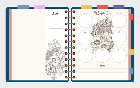 diary: Flat design opened notepad with bookmarks and isolated on white background whit place for text in top view. Sketchbook, diary mockup. Vector illustration.