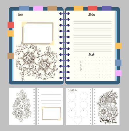 diary background: Flat design opened notepad with bookmarks and isolated on white background whit place for text in top view. Sketchbook, diary mockup. Vector illustration.