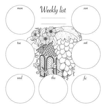 weekly planner: Weekly list design for notepad isolated on white background with place for text in top view. Sketchbook, diary mockup. Vector illustration. Coloring page for adults and kids. Illustration