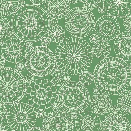 fillings: Seamless ornamental pattern with stylized with abstract flowers and mandala. Ethnic floral design template can be used for wallpaper, pattern fills, textile, fabric, wrapping, surface textures Illustration