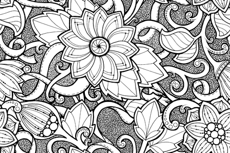 fillings: Seamless ornamental pattern with stylized with abstract flowers and tribal paisley. Ethnic floral design template can be used for wallpaper, pattern fills, textile, fabric, wrapping, surface textures.