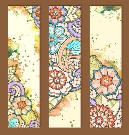 Plantilla para tarjetas vintage con flores dibujadas a mano detallada.