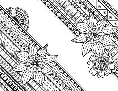 Doodle Paisley Floral Vector pattern with mandalas and flowers. Perfect card for any kind of design, birthday and other holiday, coloring book. Yoga, india, arabic, Islam, asian motifs. Black and white background. Çizim