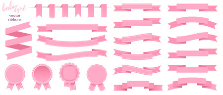 Set of pink ribbons and round stickers. Paper scrolls. Pink ribbon vector icons on white background. Sticker and kids girl decoration for app and web. Label, badge and borders collection.  イラスト・ベクター素材