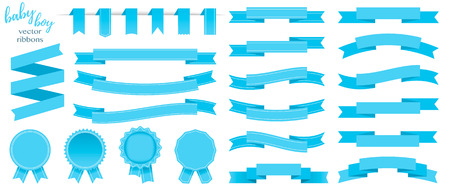 Set of blue ribbons and round stickers. Paper scrolls. Blue ribbon vector icons on white background. Sticker and kids boy decoration for app and web. Label, badge and borders collection. Çizim