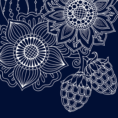 Mandala Floral Vector. Perfect card for any kind of design, birthday and other holiday, coloring book. Yoga, india, arabic, Islam, asian motifs. Monochrome blue background. Çizim