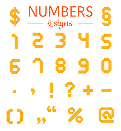 Origami numbers and signs set. Vector illustration. Folded paper numbers for your designs on the white background.