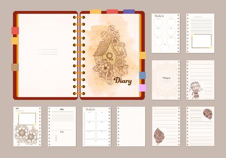 notepads: Flat design opened notepad. Sketchbook, diary mockup. Illustration