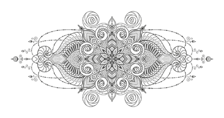 kind: Mandala Vector tattoo. Perfect card for any kind of design, birthday and other holiday, kaleidoscope, medallion, coloring book. Yoga, india, arabic, motifs. Black and white.