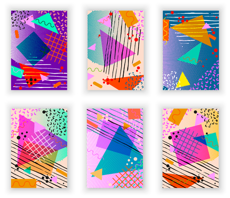 Kleurrijke trendy Neo Memphis geometrische poster set. Retro stijl textuur, patroon en geometrische elementen. Modern abstract design poster, cover, kaart ontwerp. Stock Illustratie