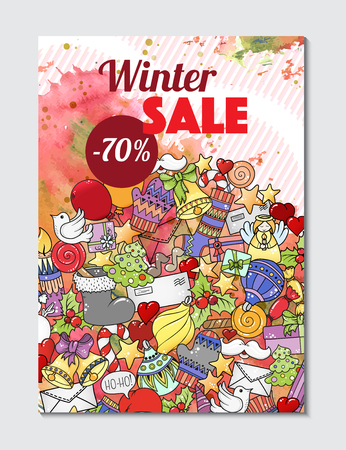 Winter mobile sale banners. Vector illustration for website banners, posters and coupons. Pattern with heart, snowflake, santa, gifts.
