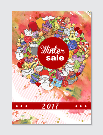 sale sticker: Winter mobile sale banners. Vector illustration for website banners, posters and coupons. Pattern with heart, snowflake, santa and gifts.
