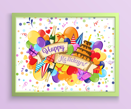 Birthday Anniversary Party Invitation Card Template with Watercolor