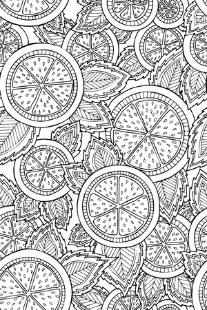 Seamless pattern with detailed hand drawn inspired lemons. Background for wrapping paper, textile, invitations, wallpaper, scrapbooking, adult coloring books. Çizim