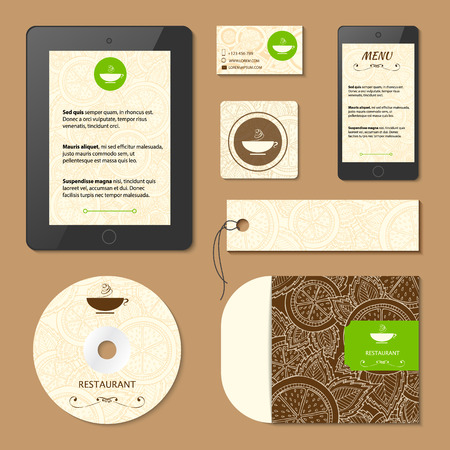 Corporate identity. Menu and Business cards for cafe and restaurant. Coffee and tea concept design. Lemon citrus pattern template card. Vector Illustration. Çizim
