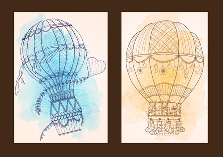 Card for Marriage, Wedding, Bridal, Valentines day or Birthday Invitations. Poster Design with graphic air balloons and watercolor. Çizim