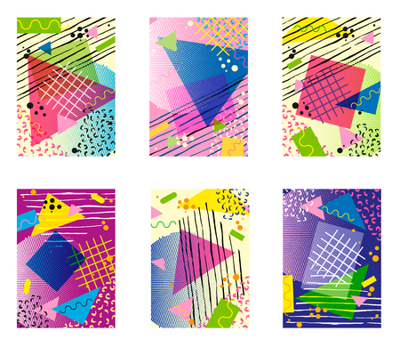 Colorful trendy Neo Memphis geometric poster set. Retro style texture, pattern and geometric elements. Modern abstract design poster, cover, card design.