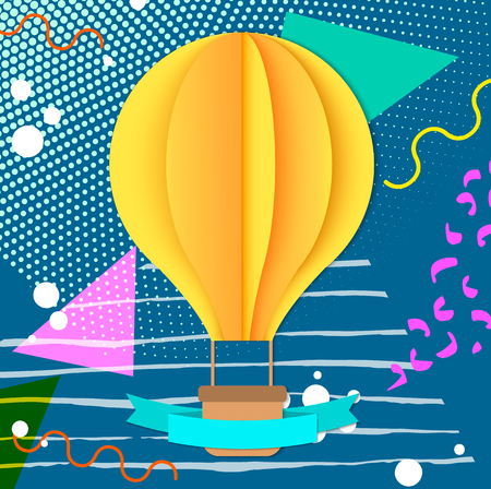Colorful trendy Neo Memphis geometric poster with paper 3D craft air balloon and ribbon. Retro style texture, pattern and geometric elements. Modern abstract design poster, cover, card design. Çizim
