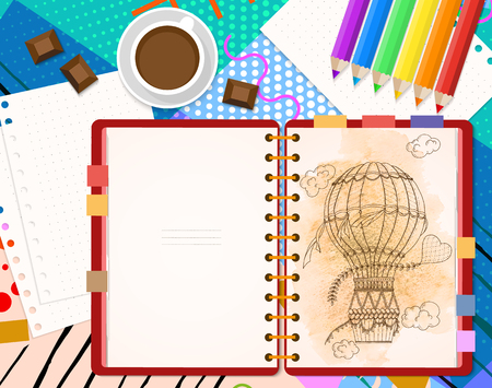 Top view of stationary pencils, red cover notebook and coffee cup with chocolate and copy space on neo memphis bright background. Vector illustration, flat style.