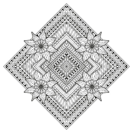 background kaleidoscope: Floral rectangle Vector tattoo. Perfect card for any kind of design, birthday and other holiday, kaleidoscope, medallion, coloring book. Yoga, india, arabic, Islam motifs. Black and white background.