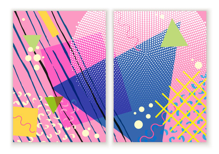 Colorful trendy Neo Memphis geometric poster. Retro style texture, pattern and geometric elements. Modern abstract design poster, cover, card design.