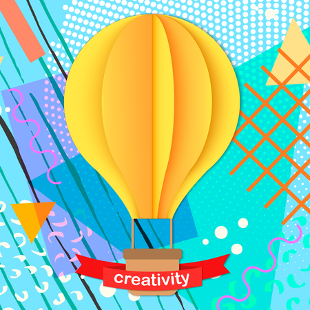 Colorful trendy Neo Memphis geometric poster with paper 3D craft air balloon. Retro style texture, pattern and geometric elements. Modern abstract design poster, cover, card design. Çizim