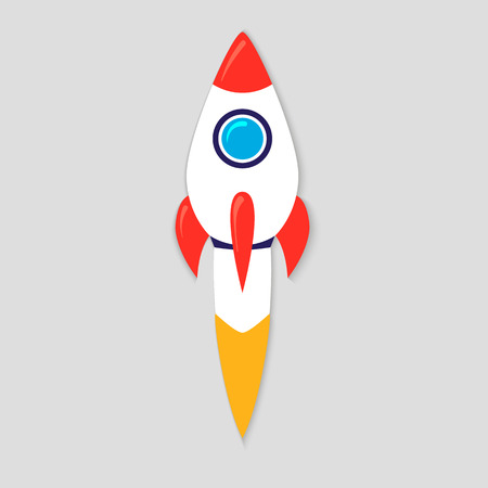 Rocket ship in a flat style. Vector illustration with 3d flying rocket. Project start up and development process. Innovation product,creative idea. Management.