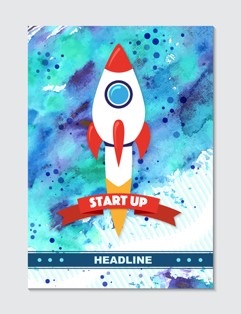 Rocket ship in a flat style. Vector illustration with 3d flying rocket on watercolor background. Project start up and development process. Innovation product,creative idea. Management.