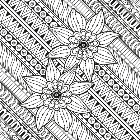 Geometric pattern with stylized flowers. Ornate zentangle seamless texture, pattern with abstract flowers. Floral pattern can be used for wallpaper, pattern fills, web page background.