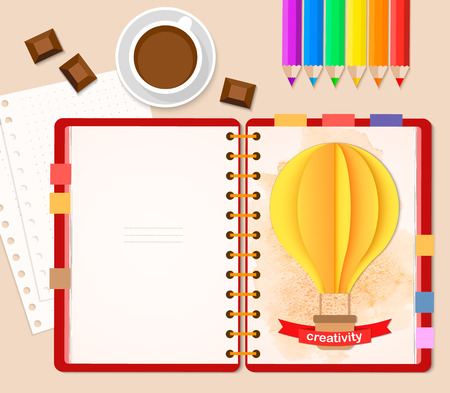 Top view of stationary pencils, red cover notebook and coffee cup with chocolate, copy space with paper 3D craft air balloon on the light background. Vector illustration, flat style.