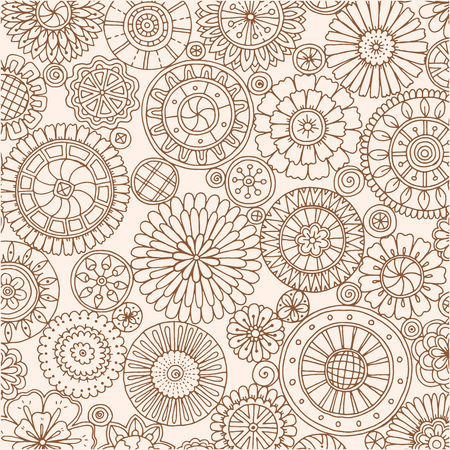 Seamless asian ethnic floral retro doodle background pattern in vector. Islam, Arabic, Indian, ottoman motifs design tribal pattern. Zentangle circles for printing on fabric or paper. Çizim