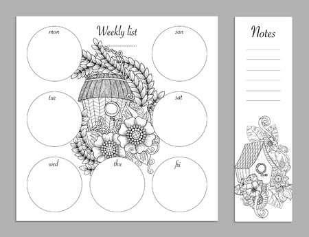 Weekly list design for notepad. Sketchbook, diary mockup. Coloring page.