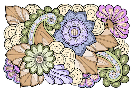 Floral card. Hand drawn artwork with abstract flowers. Background for web, printed media design. Banner, business card, flyer, invitation, greeting card, postcard.