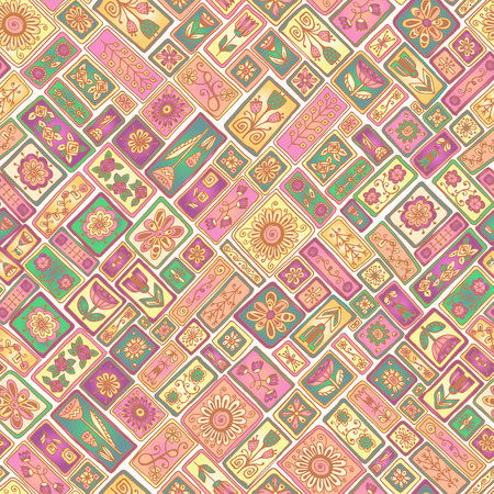 Seamless patchwork pattern from moroccan tiles and abstract flowers.