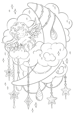 Christmas scene of baby angel, moon, cloud, stars. Black and white. Pattern the best for your design, textiles, posters, coloring book, bullet journal