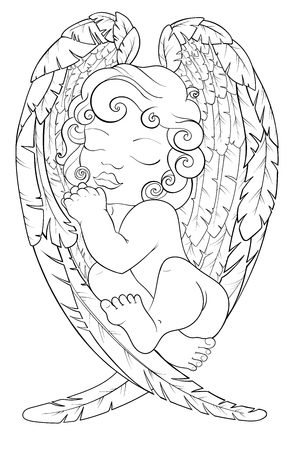 Christmas scene of baby angel an his wings. Black and white. Pattern the best for your design, textiles, posters, coloring book, bullet journal. Stok Fotoğraf