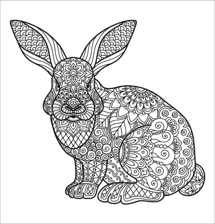 Coloring page for adult and kids coloring book or bullet journal. Doodle floral pattern on the rabbit, hare. Flowers and geometric lines. Black and white vector background