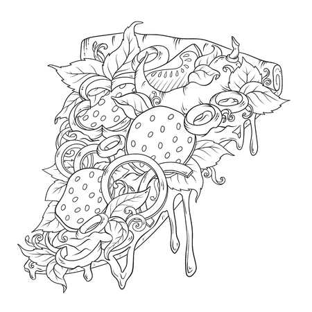 Sketchy pizza piece with tasty topping with tomato, pepperoni and mushroom using hand drawing style Stok Fotoğraf