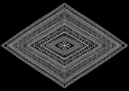 Ethnic pattern rhombus white on black background
