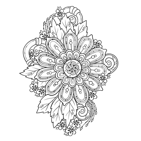 Mandala Vector doodle tattoo. Perfect element for any kind of design, birthday and other holiday, kaleidoscope, medallion, coloring book. Yoga, india, arabic, Islam motifs. Black and white