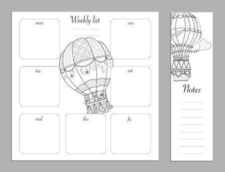 Flat design adult coloring page, notes, weekly and to do list in top view. Sketchbook, coloring book, diary or bullet journal mockup. Vector illustration of detailed air ballon