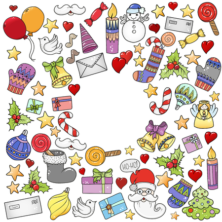 Merry christmas pattern for holiday greeting cards, print, book page, bullet journal or wrapping paper. Bells, Santa, tree, socks, candle, sweets, love hearts, angel and stars Stok Fotoğraf