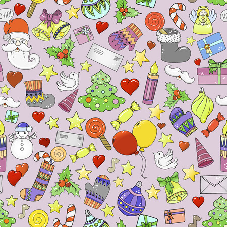 Merry christmas seamless pattern for holiday greeting cards, print, book page, bullet journal or wrapping paper. Bells, Santa, tree, socks, candle, sweets, love hearts, angel and stars